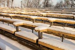 Filas nevadas de bancos en un parque Imagen de archivo libre de regalías