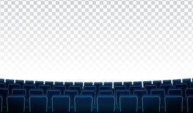 Filas realistas de los asientos azules del cine o del cine de las sillas delante del fondo transparente Auditorio del cine y ilustración del vector