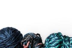 Filati di lana sul fondo Immagine Stock Libera da Diritti