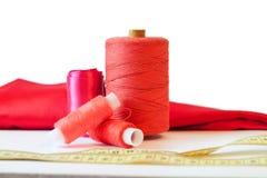 Filato cucirino rosso Fotografia Stock Libera da Diritti