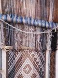 Filato di lana tinto naturale nelle Ande peruviane a Cuzco Fotografie Stock Libere da Diritti