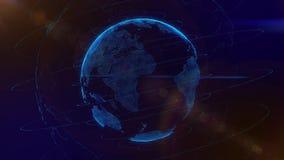 Filatura futuristica dell'ologramma della terra del globo virtuale digitale illustrazione di stock