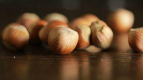 Filbert nuts. Placer in a wicker basket, close-up. Filbert nuts. Placer in a wicker basket stock footage