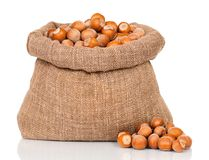 Filberts in bag Royalty Free Stock Photos