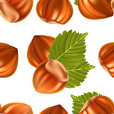 Filberts with leaves seamless background Royalty Free Stock Images