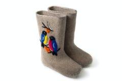 Filc buty z dekoracją Valenki Obrazy Stock