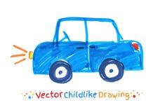 Filc pióra dziecinny rysunek pojazd Obraz Royalty Free
