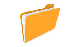 File. Orange File with papers, isolated Stock Image