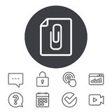 File annex icon. Paper clip symbol. Stock Photo