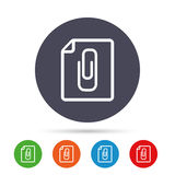 File annex icon. Paper clip symbol. Attach symbol. Round colourful buttons with flat icons. Vector Stock Image