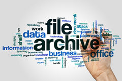 File archive word cloud concept on grey background Stock Photo