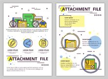 Vector line art file attachment poster template. File attachment web banner, poster, flyer, leaflet, brochure template. Vector modern thin line art flat style Royalty Free Stock Images