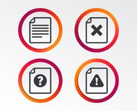 File attention icons. Exclamation signs. File attention icons. Document delete symbols. Question mark sign. Infographic design buttons. Circle templates. Vector Stock Images