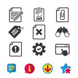 File attention icons. Exclamation signs. Stock Image