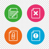 File attention icons. Exclamation signs. Royalty Free Stock Image