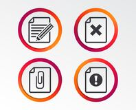File attention icons. Exclamation signs. File attention icons. Document delete and pencil edit symbols. Paper clip attach sign. Infographic design buttons Stock Images