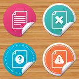 File attention icons. Exclamation signs. Stock Images