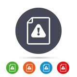 File attention sign icon. Exclamation mark. Hazard warning symbol. Round colourful buttons with flat icons. Vector Stock Photo