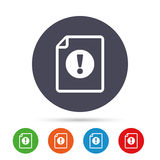 File attention sign icon. Exclamation mark. Hazard warning symbol. Round colourful buttons with flat icons. Vector Stock Photography