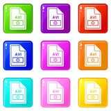 File AVI icons 9 set. File AVI icons of 9 color set isolated vector illustration Stock Images