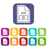 File AVI icons set. Vector illustration in flat style in colors red, blue, green, and other Royalty Free Stock Photos