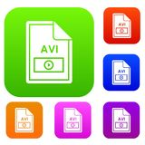 File AVI set collection. File AVI set icon in different colors isolated vector illustration. Premium collection Stock Image