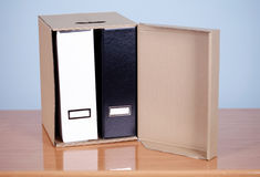 File  binders in carton box Stock Photos