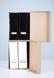 File binders in carton box Royalty Free Stock Photo