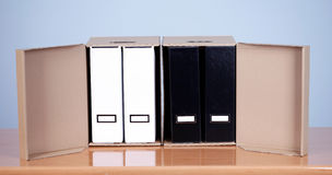 File binders in carton boxes Royalty Free Stock Photos