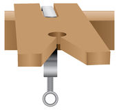 File block and clamp. Made wood. Vector illustration Royalty Free Stock Images