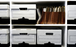 File Boxes on Shelf Royalty Free Stock Photos