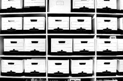 File Boxes on Shelf Royalty Free Stock Photography