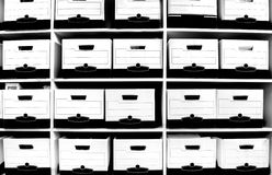 File Boxes on Shelf Stock Image