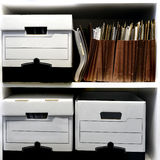 File Boxes on Shelf Royalty Free Stock Image