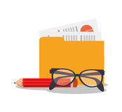 File and business supplies design. File glasses and pencil icon. Business supplies management and workforce and theme. Colorful design. Vector illustration Stock Photos