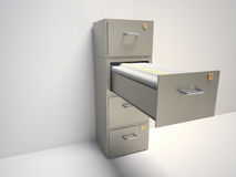 File cabinet. With an open drawer with folders - 3d render illustration Stock Photography