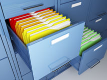 File cabinet. 3d image of classic file cabinet on white Stock Image