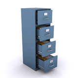 File cabinet. With open draws (3d render Stock Image