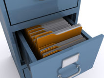 File cabinet. Close up of a file cabinet with an opened draw (3d render Stock Images