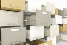 File cabinet. 3d image of open drawer of file cabinet Royalty Free Stock Photo