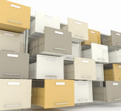 File cabinet. 3d image of open drawer of file cabinet Stock Photography