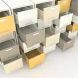 File cabinet. 3d image of open drawer of file cabinet Stock Images