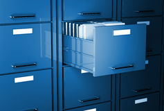 File cabinet 3d. Blue tone office image Stock Images