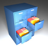 File cabinet 3d. And colorful  folder closeup image Stock Images