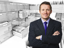 File cabinet 3d an man. Smiling young worker and file cabinet background Stock Photo