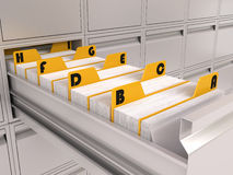 File cabinet. Alphabetical file of index card Royalty Free Stock Image