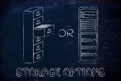 File cabinet archive or computer servers as storage options Stock Photo
