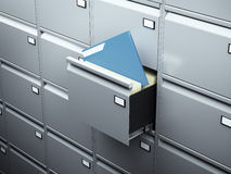 File cabinet with blue document. In dark room Royalty Free Stock Image