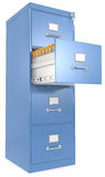 File Cabinet. Blue File Cabinet. Open drawer with files. Lock and key Royalty Free Stock Images