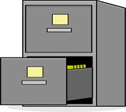 File cabinet. Cartoon illustration showing a metal file cabinet with the bottom drawer open Stock Image